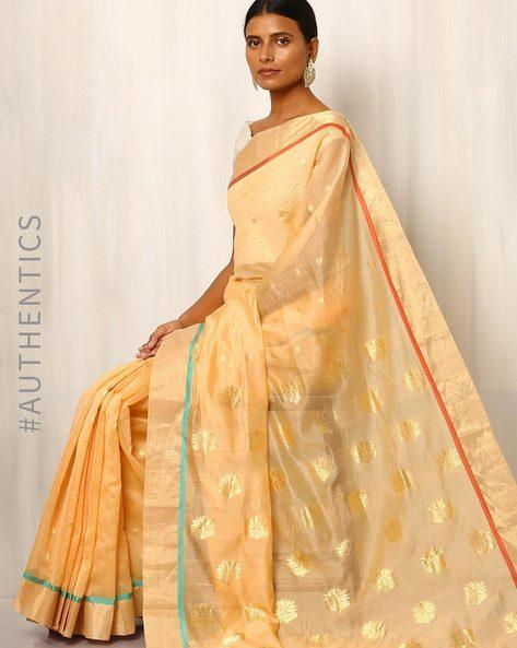 Handwoven Pure Silk Cotton Chanderi Saree By Indie Picks ( Beige )
