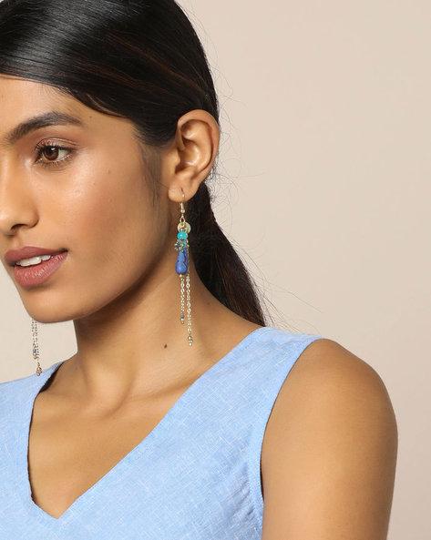 Beaded Streamer Earrings By Indie Picks ( Blue )