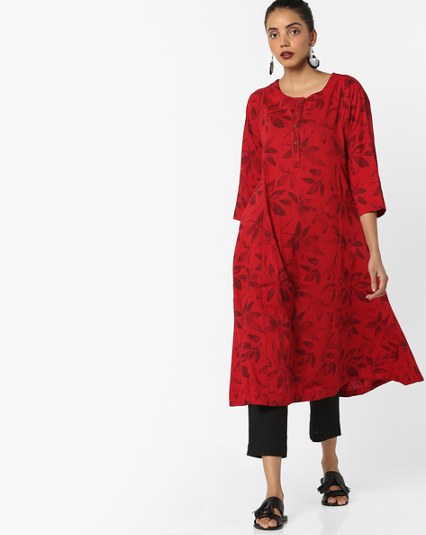 Printed A-line Kurta By Project Eve IW Casual ( Red )