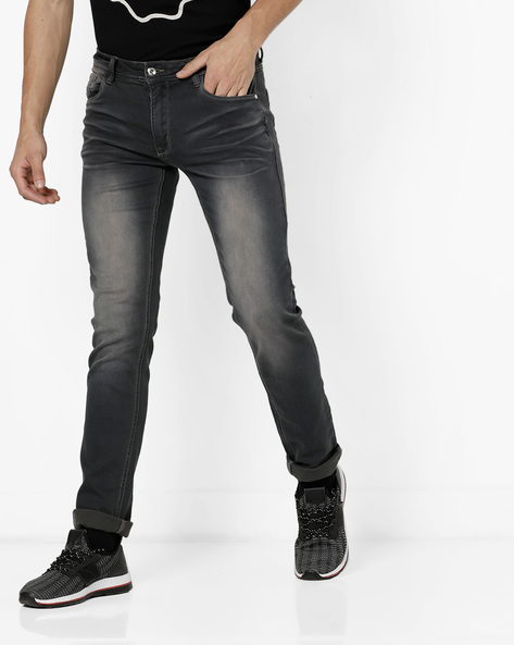 Mid-Wash Slim Fit Jeans With Whiskers By RexStraut JEANS ( Darkgrey ) - 460195362008