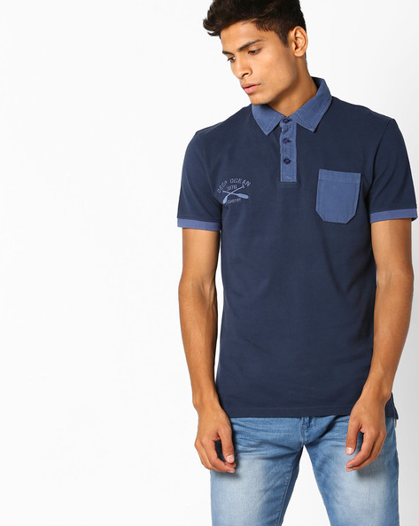 Polo T-shirt With Contrast Patch Pocket By Celio ( Marine )