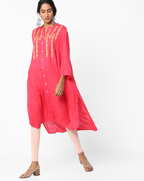 High-Low Embroidered Kurta By Alto Moda By Pantaloons ( Pink )