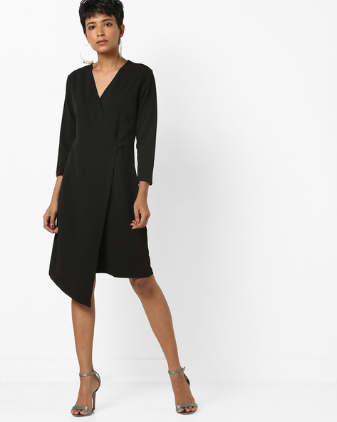 Sheath Dress With Overlapping Front By AJIO ( Black )