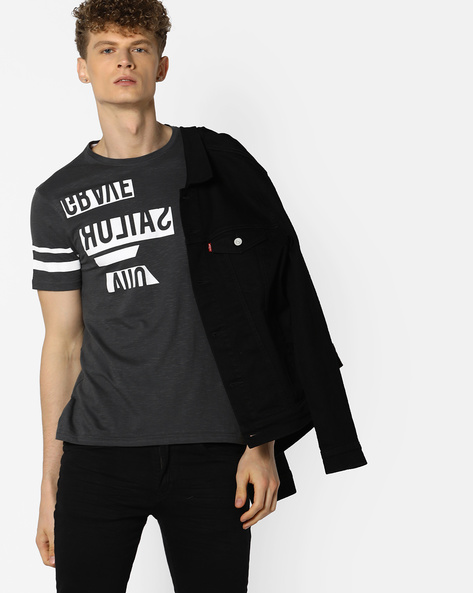 Graphic Print Slim Fit T-shirt By AJIO ( Grey )