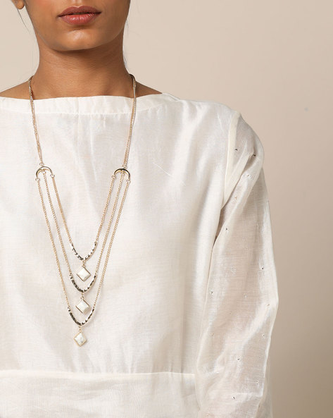 Multistrand Brass Necklace With Pendants By Project Eve ( Multi )