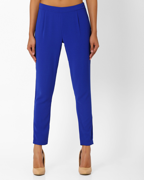 Tapered Ankle-Length Trousers By AJIO ( Navyblue )