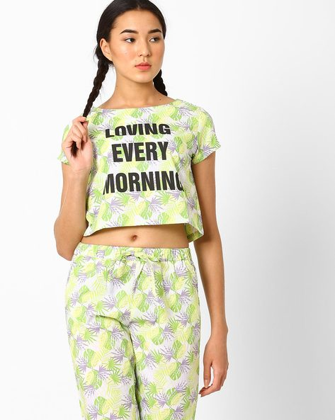 Tropical Print Lounge Crop Top By AJIO ( Limegreen )