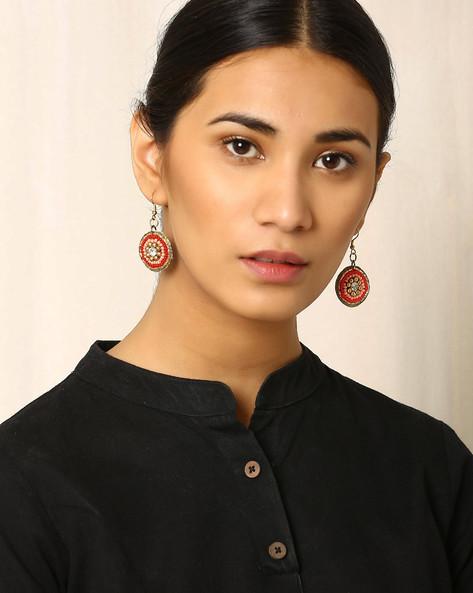 Beaded Dangler Earrings By Indie Picks ( Orange ) - 460017835001