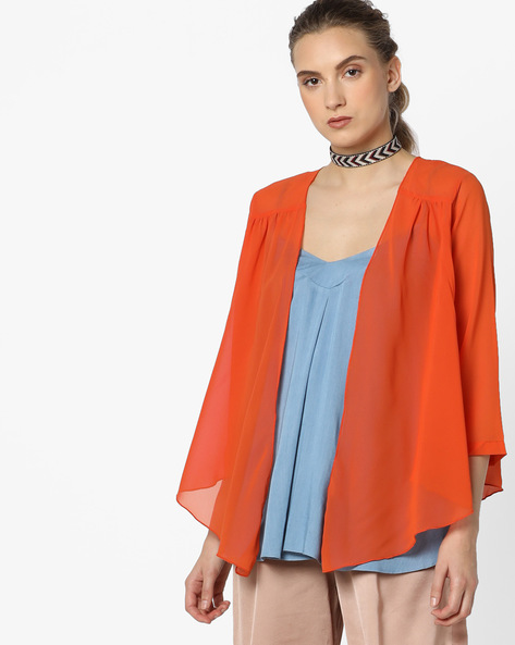 Open-Front Shrug With Asymmetric Hem By And ( Coral )