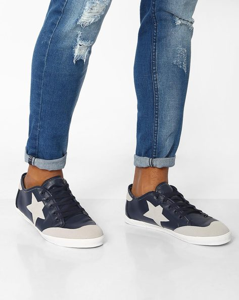 Low-Cut Sneakers With Lace-Up Fastening By AJIO ( Navy )