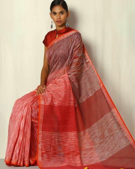 Handwoven Bengal Silk Cotton Saree By Indie Picks ( Multicolour ) - 460084263001