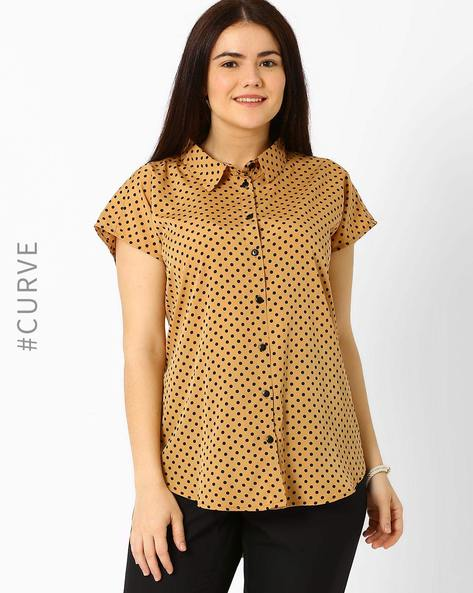 Polka Dot Shirt With Extended Sleeves By Oxolloxo ( Brown )