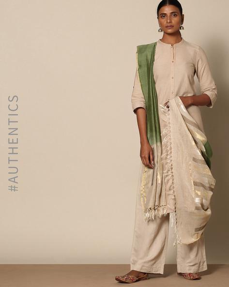 Handloom Pure Tussar Silk Muga Jamdani Dupatta By Indie Picks ( Red ) - 460135869001