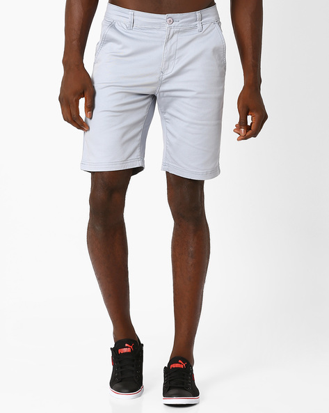 Slim Fit Shorts With Button Closure By Blue Saint ( Lightgrey )