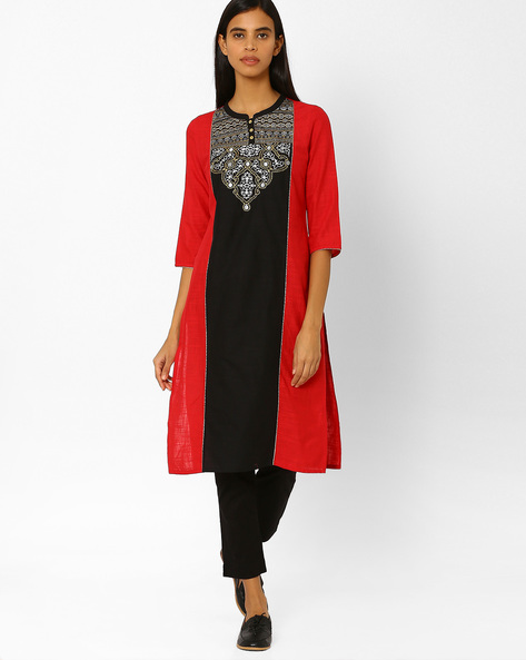Straight Kurta With Embroidery By AURELIA ( Black )