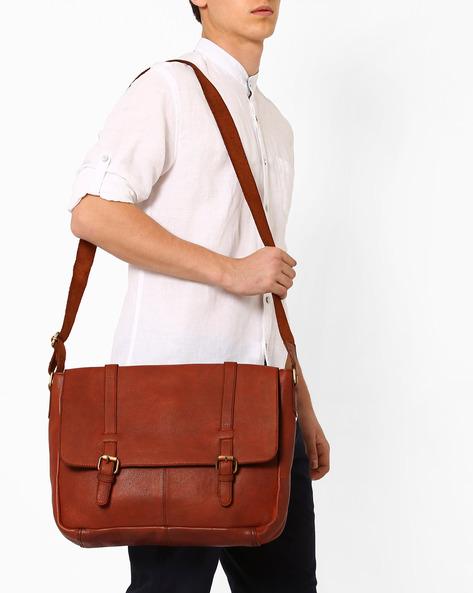 Genuine Leather Messenger Bag By TEAKWOOD LEATHERS ( Tan )
