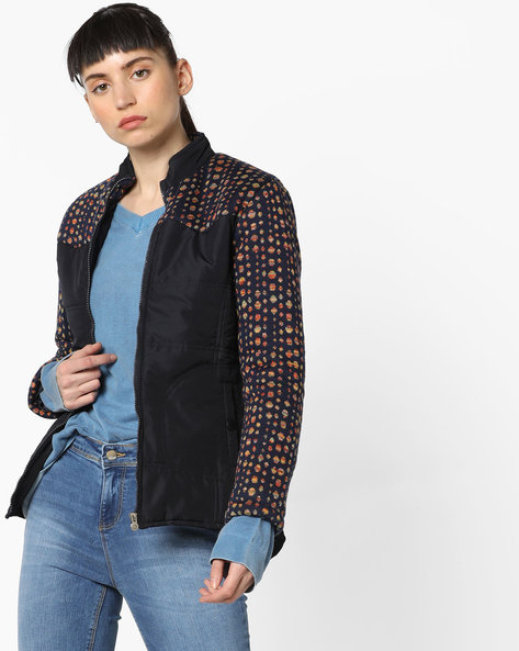 Panelled Jacket With Front Zipper By Sweet Dreams ( Blue )