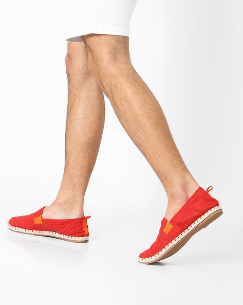 Perforated Espadrilles With Contrast Gussets By AJIO ( Red )