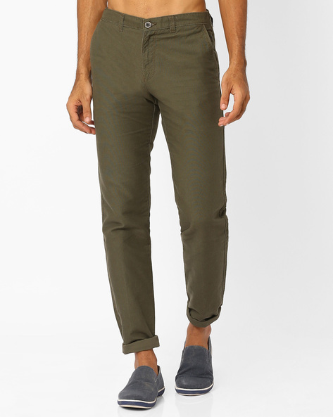 Slim Fit Chinos With Welt Pockets By NETPLAY ( Olive )