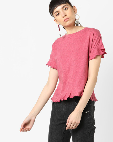 Knitted Top With Ruffled Panels By AJIO ( Pink )