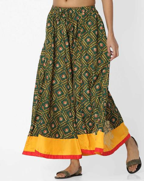 Printed Ghagra With Contrast Hem By Akkriti By Pantaloons ( Green )