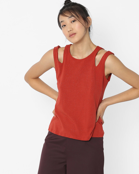 Sleeveless Top With Cut-Out Shoulders By ANONYMOUS CO ( Redorange )
