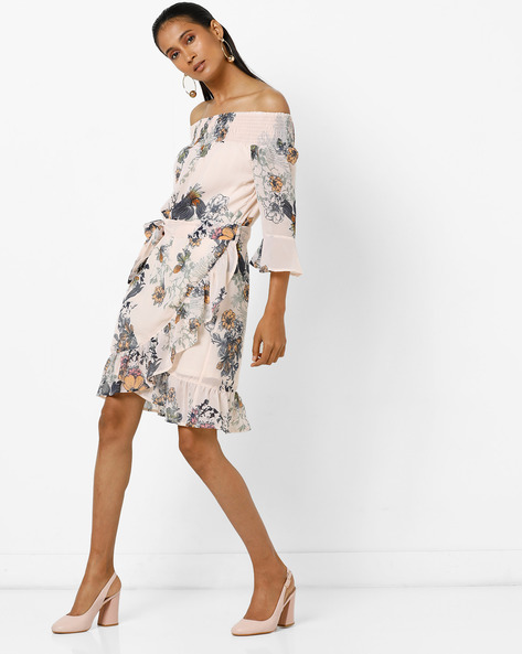 Floral Print Off-Shoulder Dress By Femella ( Cream )