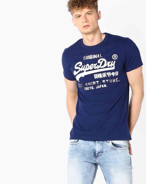 Graphic Print Crew-Neck T-shirt By SUPERDRY ( Jzd )