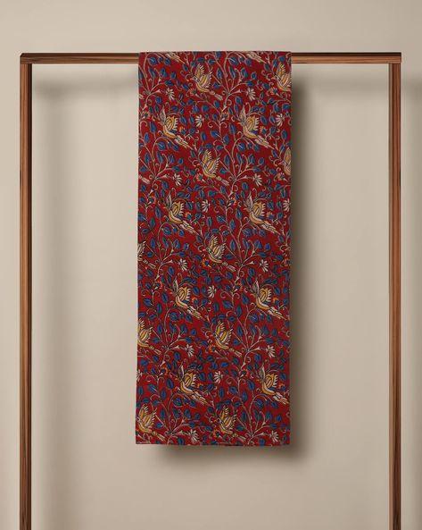 Printed Cotton Kalamkari Kurta Fabric By Indie Picks ( Maroon ) - 460103634001