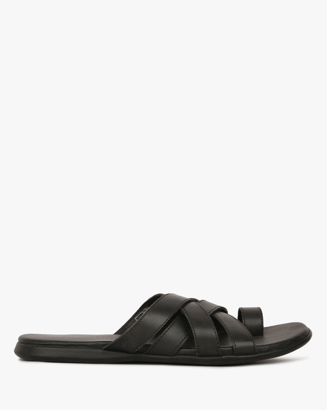 Leather Slippers With Criss-Cross Upper By HUNTER'S BAY ( Black )