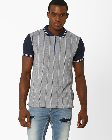 Slim Fit Striped Polo T-shirt By VOI JEANS ( Navy )