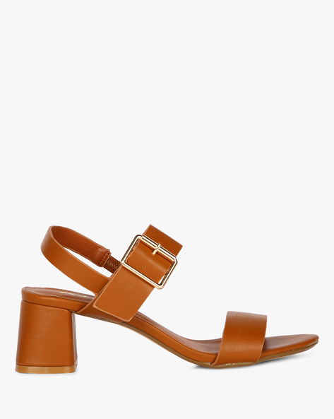 Double-Strap Block Heels With Buckle Fastening By AJIO ( Tan )