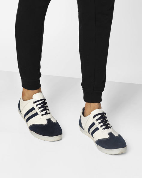 Lace-Up Casual Shoes With Striped Overlays By BUCKAROO ( Blue )