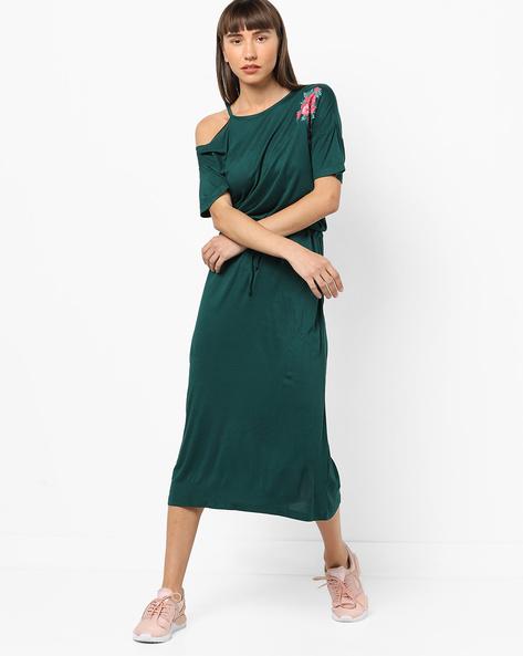 Floral Print Dress With Waist Tie-Up By AJIO ( Darkgreen )