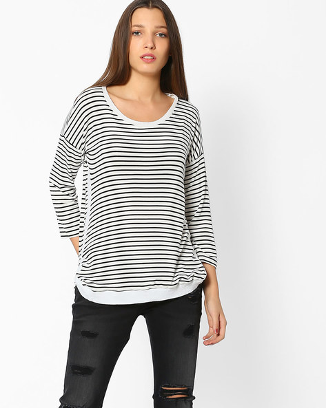 Striped Top With Drop Shoulders By BOSSINI ( Black )