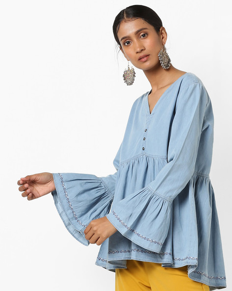 Top With Embroidered Bell Sleeves By Tokyo Talkies ( Blue )