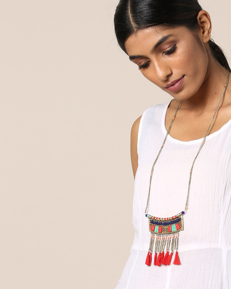 Tribal Beaded Necklace By Indie Picks ( Multi )