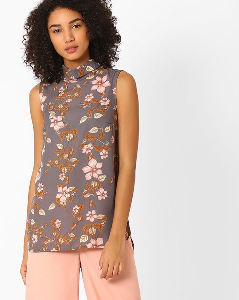 Floral Print High-Low Top By AJIO ( Grey )