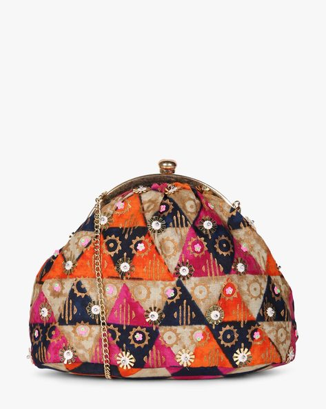 Printed Sling Clutch With Hand Embroidery By Neonia ( Multi ) - 460187216001