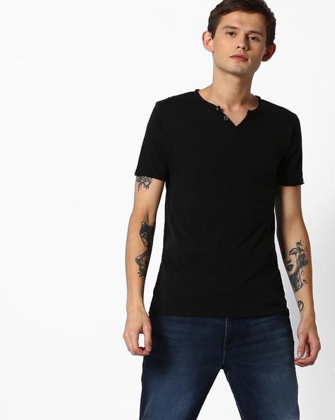Slim Fit Henley Cotton T-shirt By Jack & Jones ( Grey )