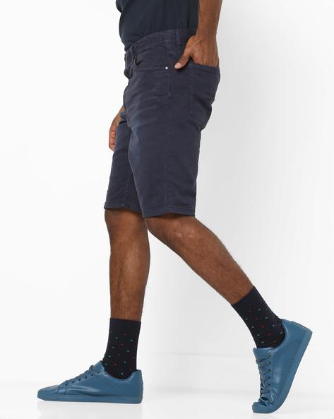 Mid-Rise Flat-Front Shorts By Jack & Jones ( Blue )