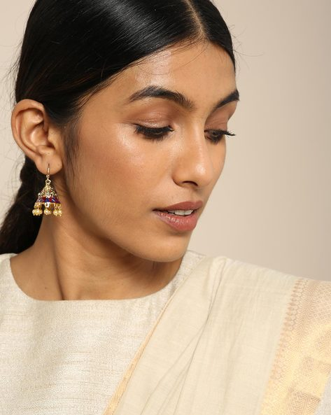 Meenakari Pearl Drops Stone Earrings By Spargz ( Multi ) - 460146248001