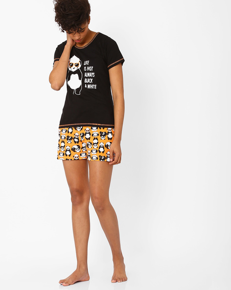 Graphic Print Lounge Set By Heart 2 Heart ( Black )