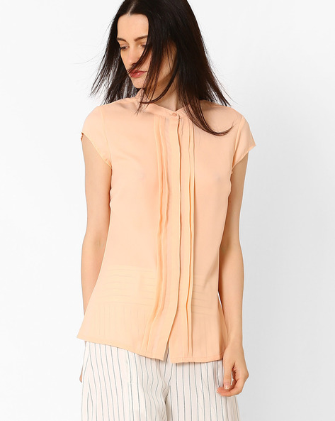 Pleat-Front Top With Cap Sleeves By AJIO ( Peach )