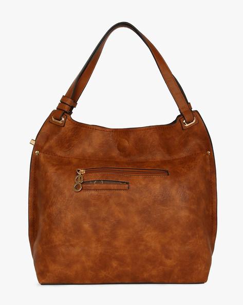 Faux Leather Hobo Bag By E2O ( Khaki )