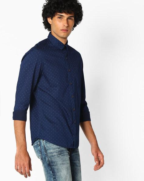 Printed Cotton Shirt By NETPLAY ( Darkblue ) - 440725985001