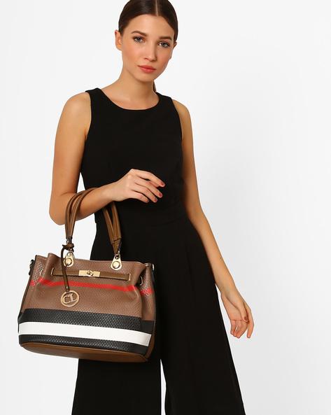 Striped Textured Handbag By Carlton London ( Beige )