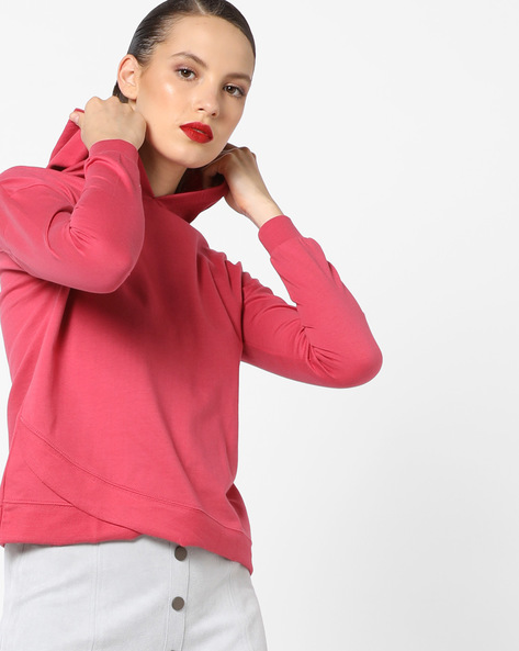 Hoodie With Overlapping Hems By AJIO ( Lightpink )