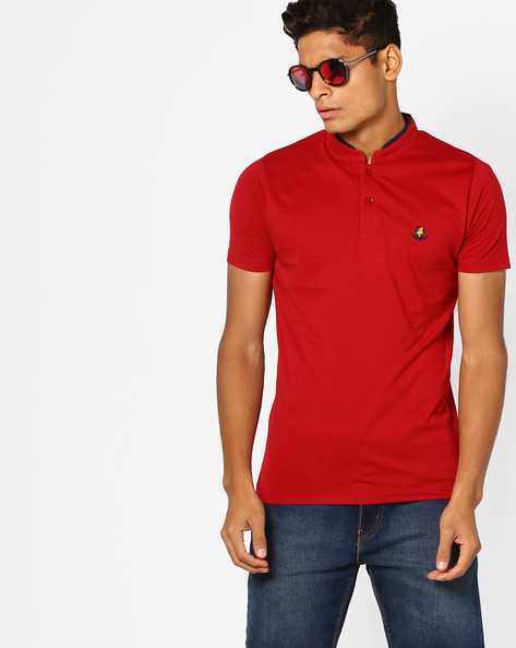 Cotton T-shirt With Mandarin Collar By The Indian Garage Co ( Red )