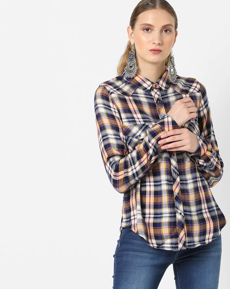 Checked Shirt With Flap Pockets By Only ( Mustard )